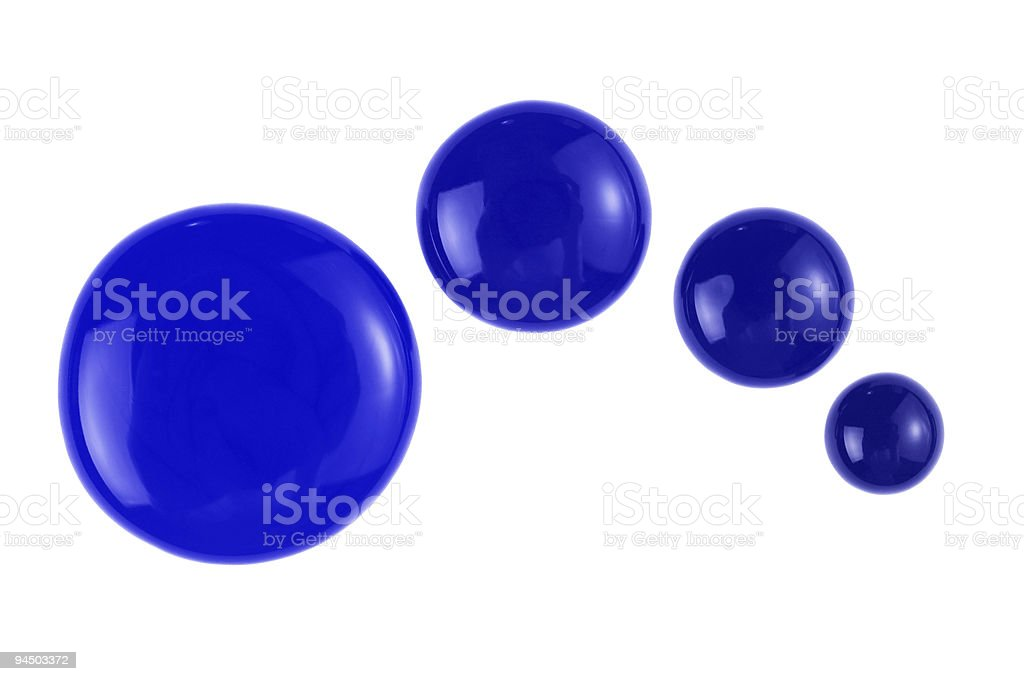 Four blue paint drops. Photo royalty-free stock photo