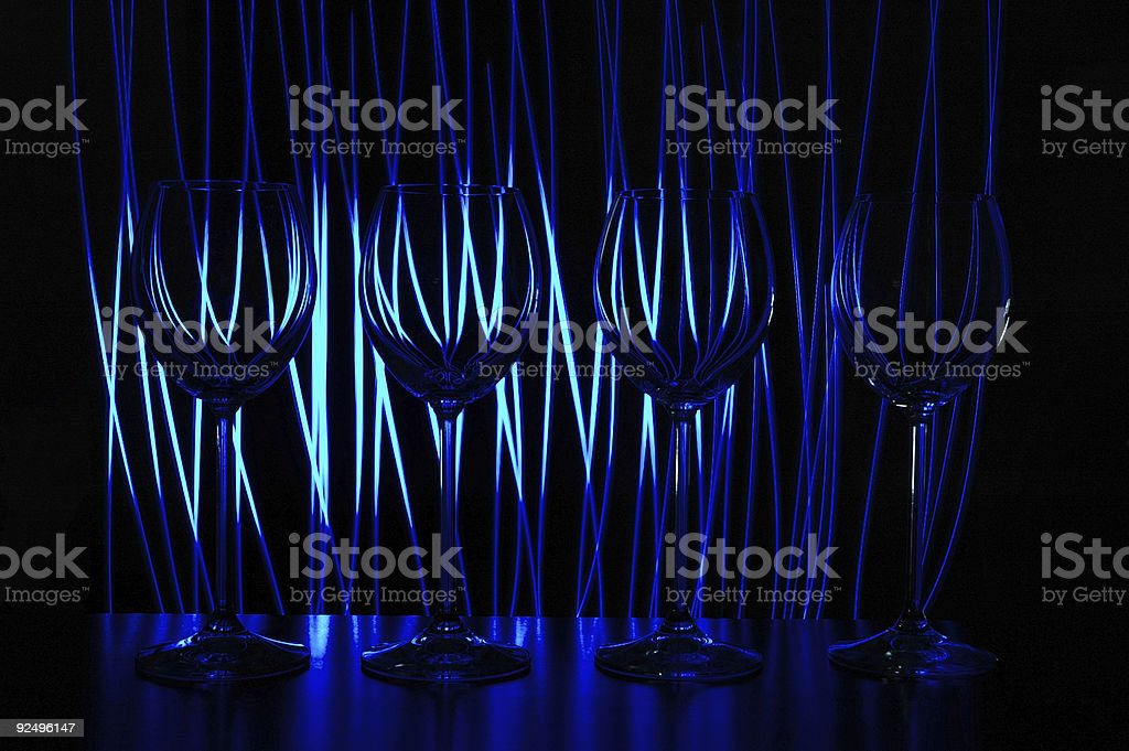 four blue wine glasses royalty-free stock photo