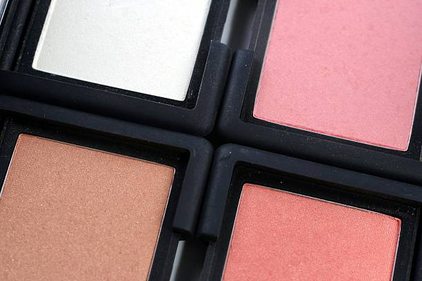 four blush compacts stock photo