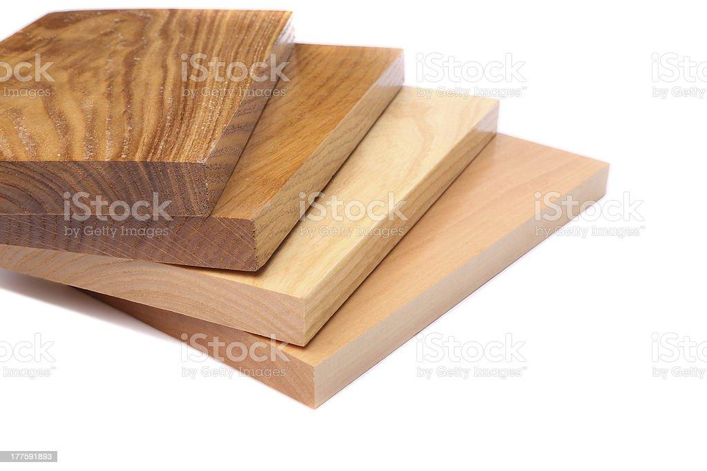Four boards (acacia, oak, elm, lime) royalty-free stock photo