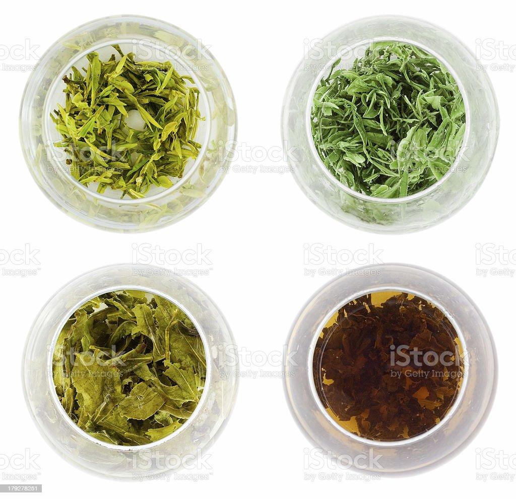 Four bowls of green tea royalty-free stock photo
