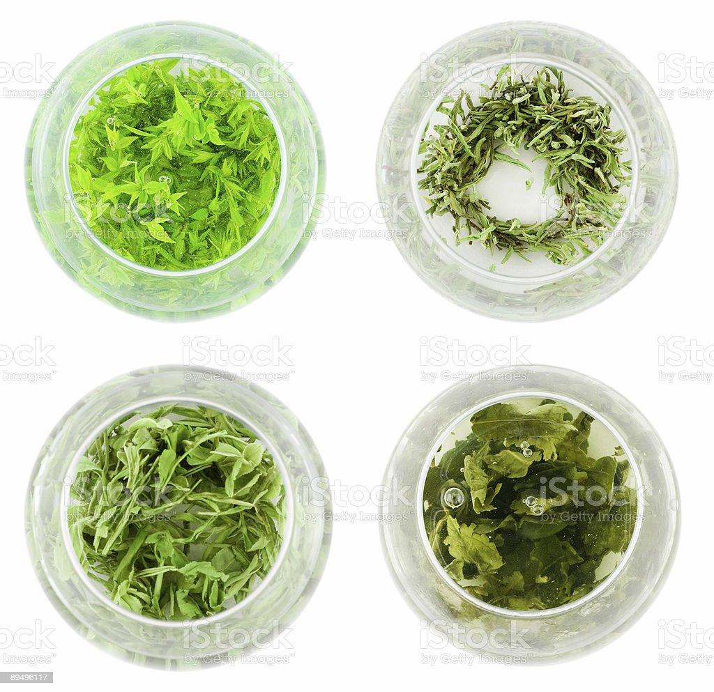 Czterech zjazdów z zielonej herbaty zbiór zdjęć royalty-free