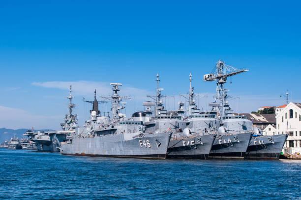 Four Brazilian Navy Warships stock photo