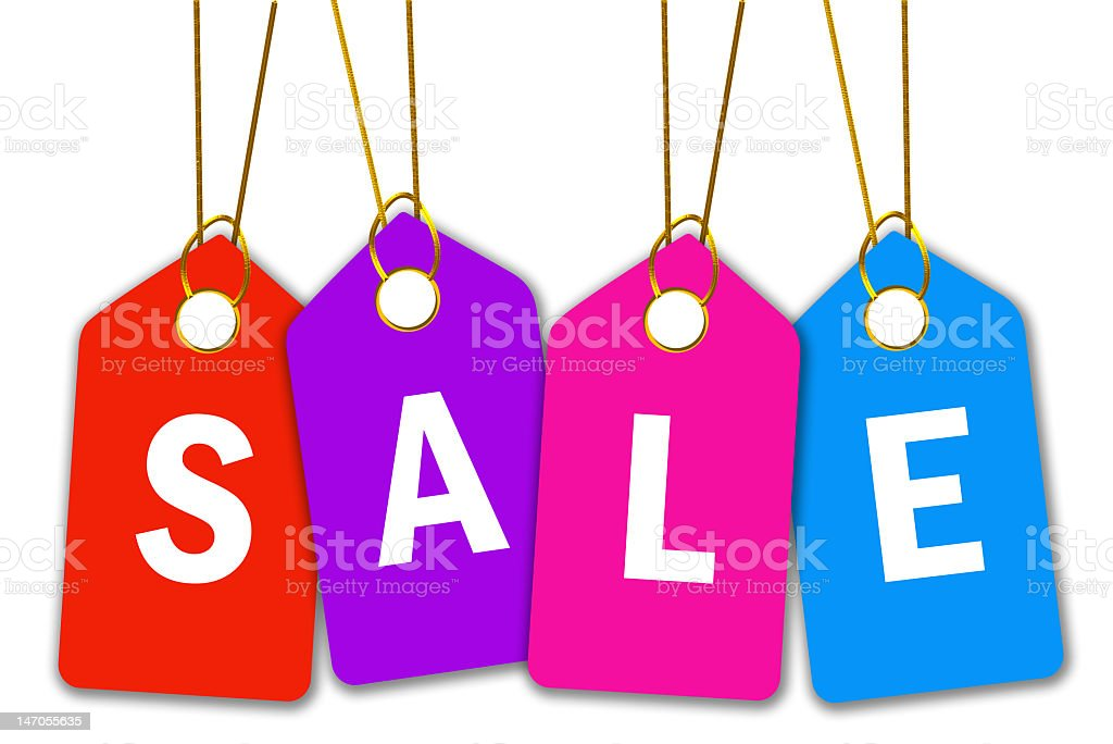 Four bright colored dangling sales tags on white background royalty-free stock photo