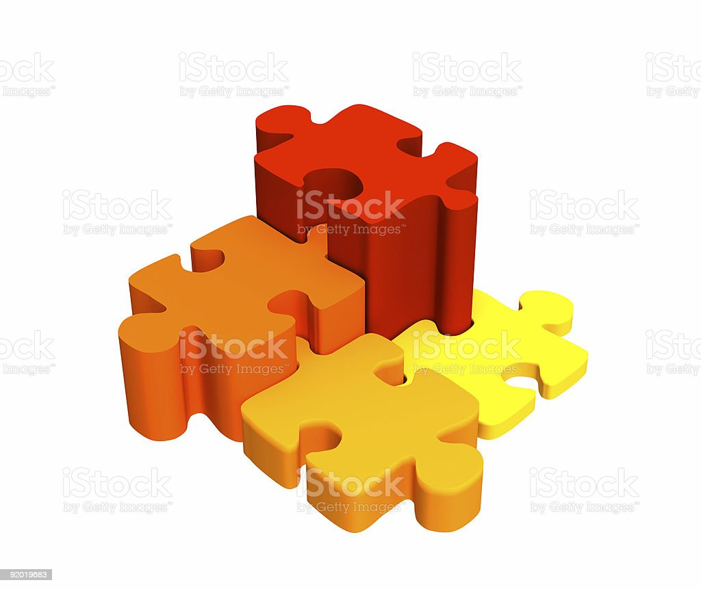 Four bright pieces of the puzzle, combined by a ladder royalty-free stock photo