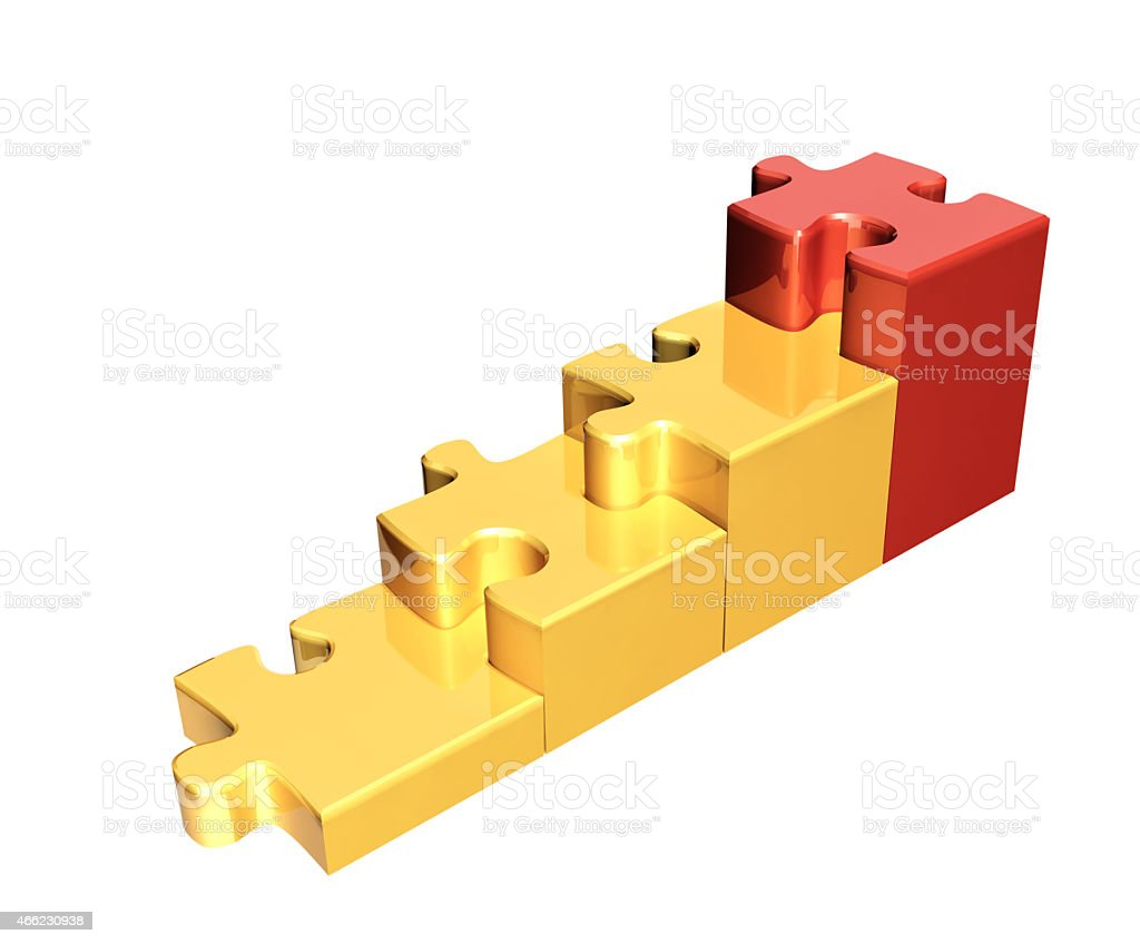 Four bright pieces of the puzzle stock photo