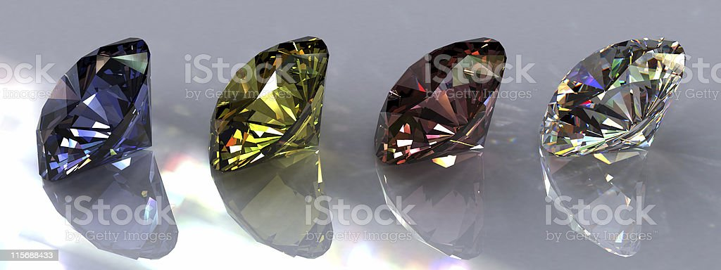 Four brightly colored diamonds royalty-free stock photo
