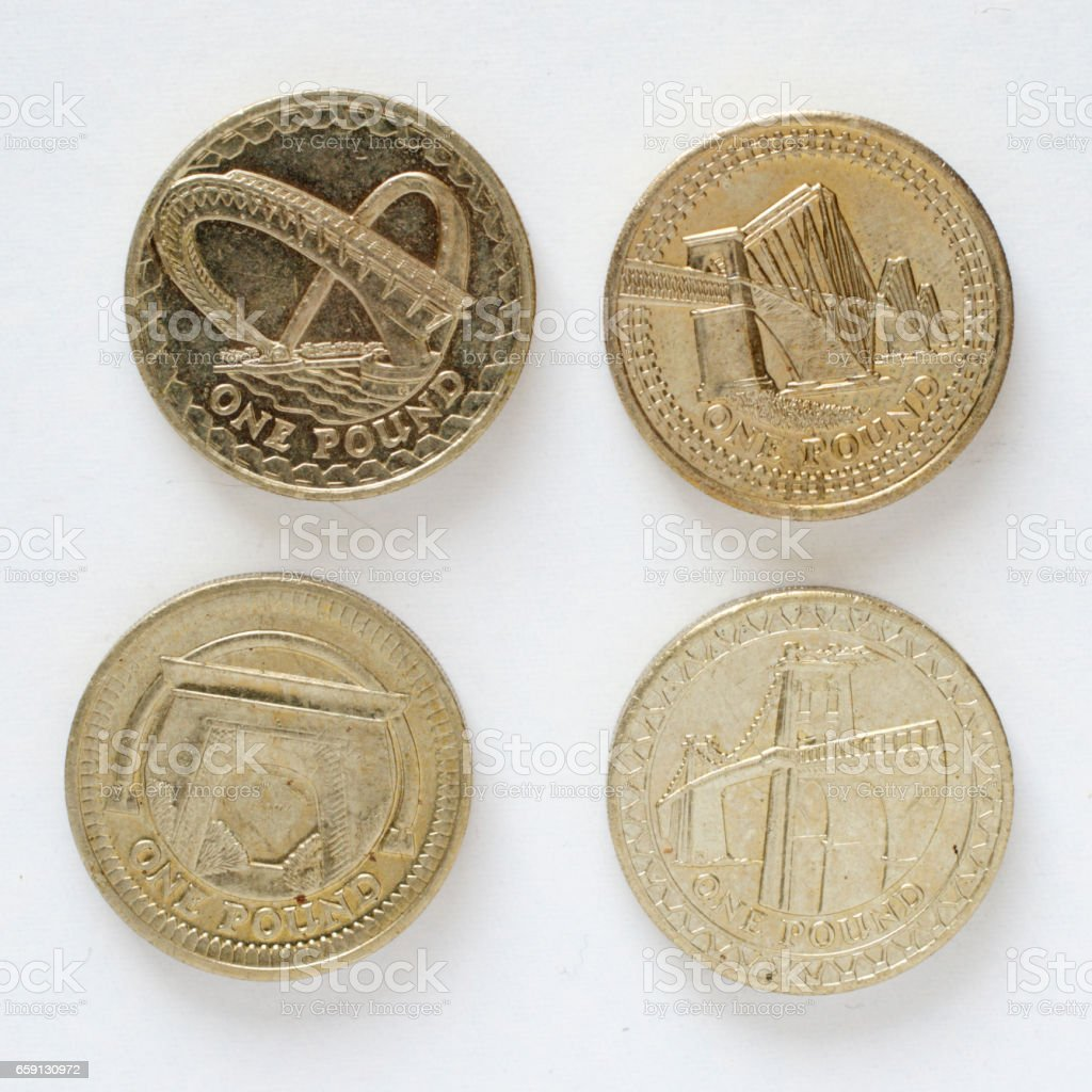 Four British bridges pound coin designs stock photo