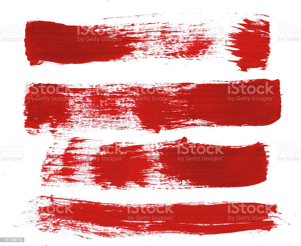Four Broken Up Red Paint Strokes royalty-free stock photo