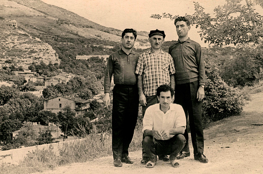 Photo of a vintage beautiful brother,1968 year,Northern Caucasus.