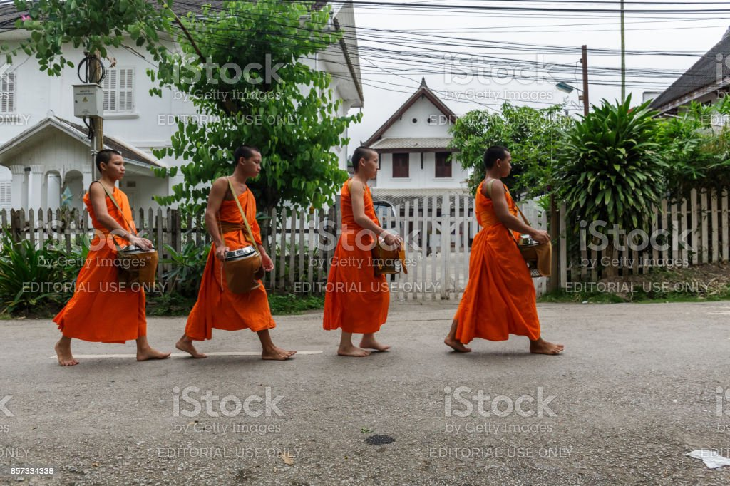 Four Buddhist monks collect alms in Luang Prabang, Laos stock photo
