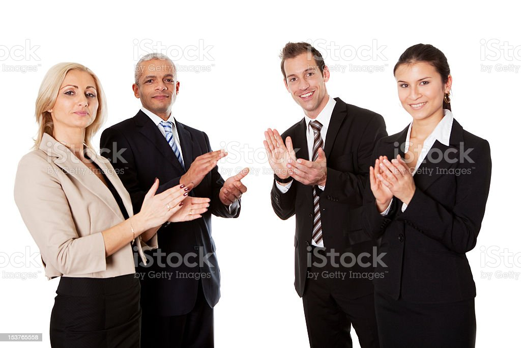 Four business people applauding royalty-free stock photo