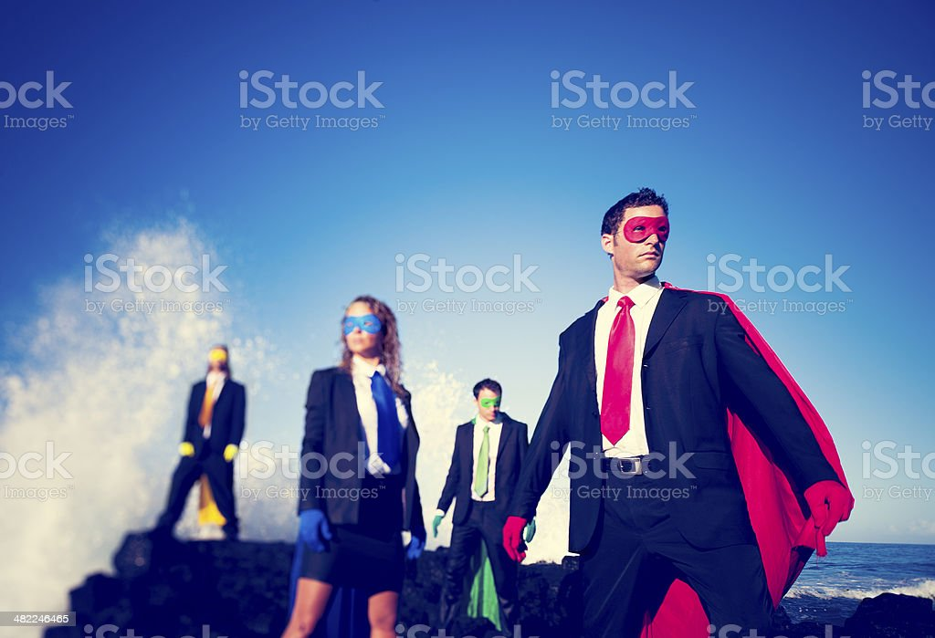 Four Business Superheroes stock photo