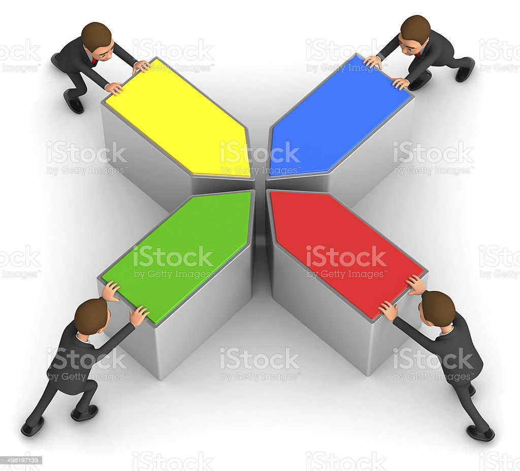 four businessmen collect puzzle stock photo
