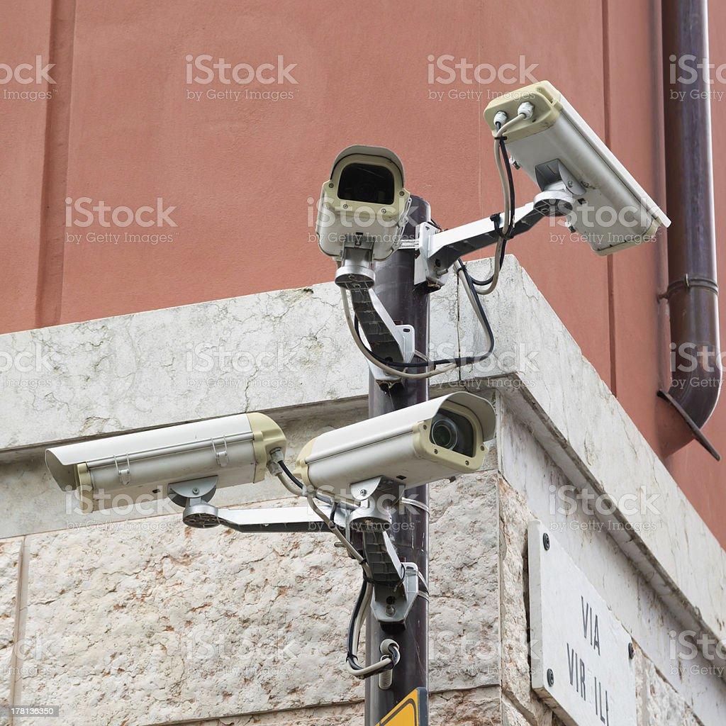 Four cameras for maximum security stock photo