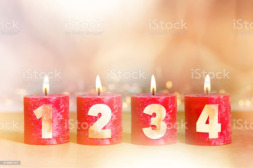 Four candles for advent stock photo