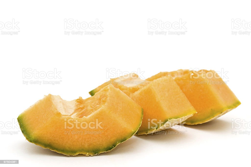 Four cantle of cantaloupe. royalty-free stock photo