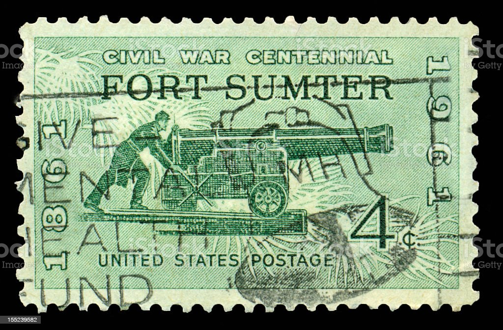 Four Cent Fort Sumpter Stamp stock photo