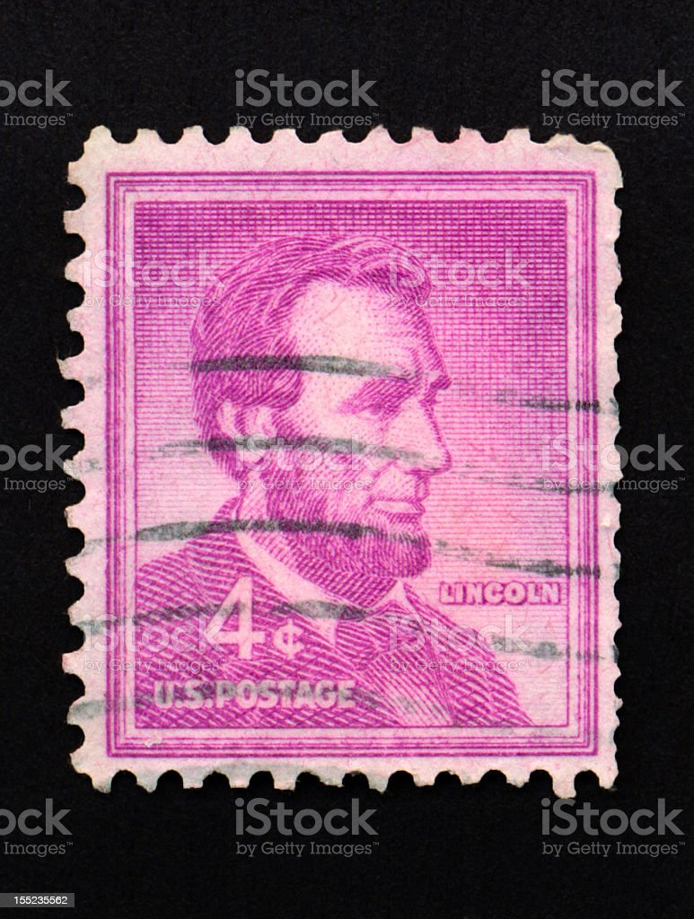 Four Cent Lincoln Stamp royalty-free stock photo