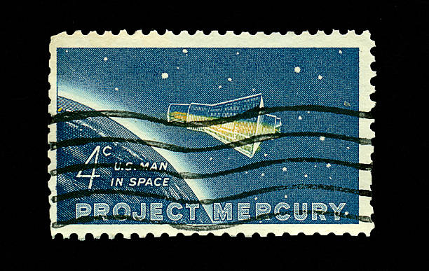 Four Cent Man in Space Stamp stock photo
