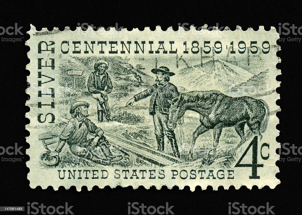 Four Cent Silver Centennial Stamp stock photo