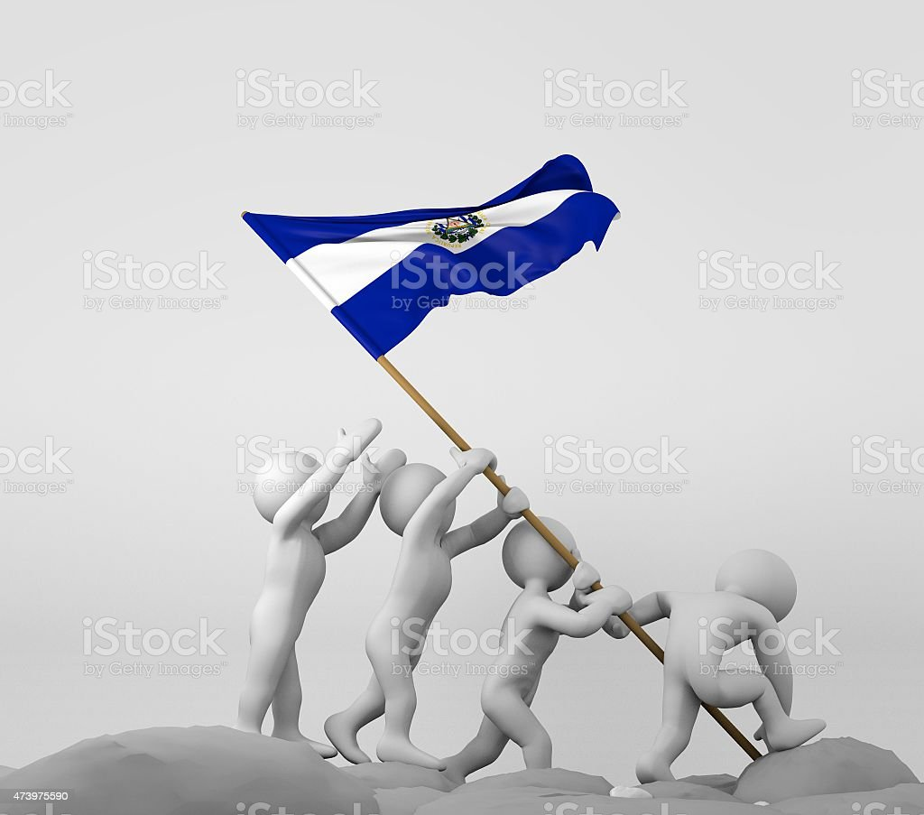 Four characters holding El Salvador flag stock photo