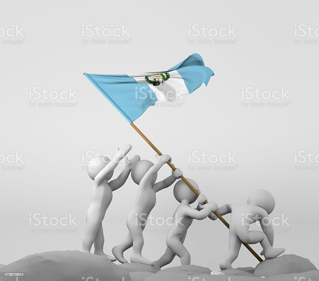 Cuatro caracteres sosteniendo bandera de Guatemala - foto de stock
