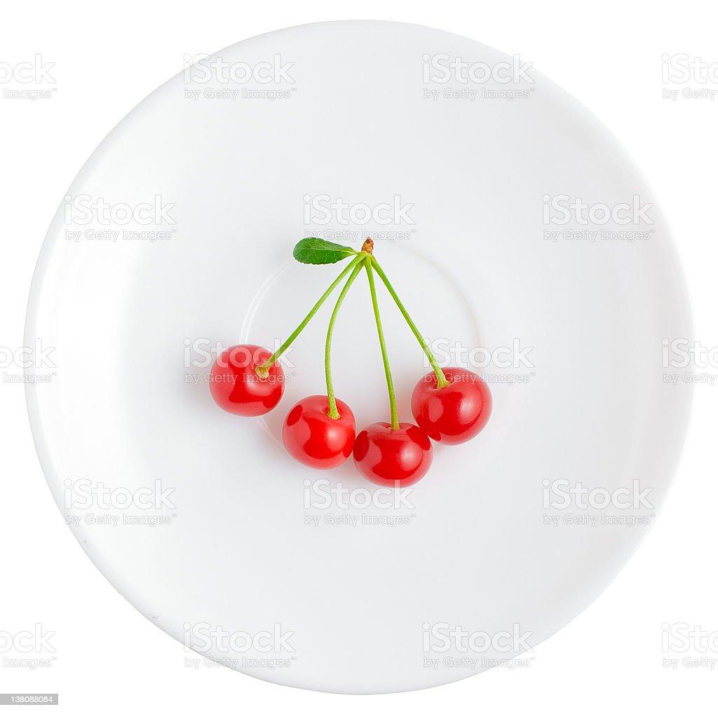 Four cherries | Isolated stock photo