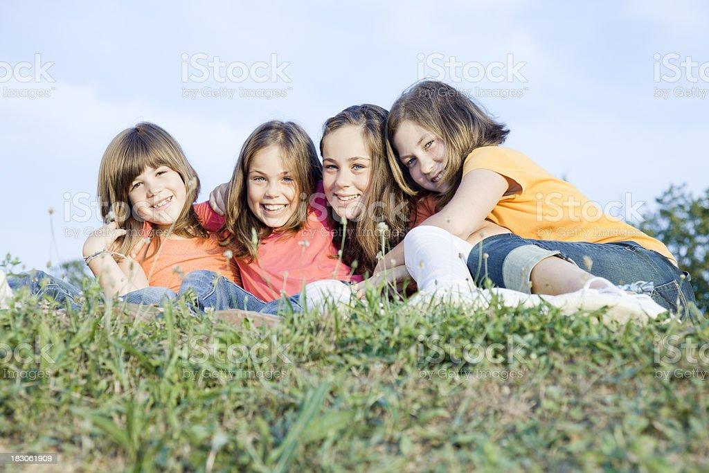 Four children friends stock photo