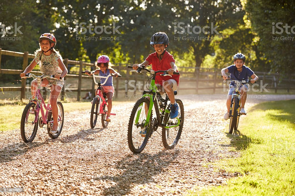 Four Children On Cycle Ride In Countryside Together stock photo