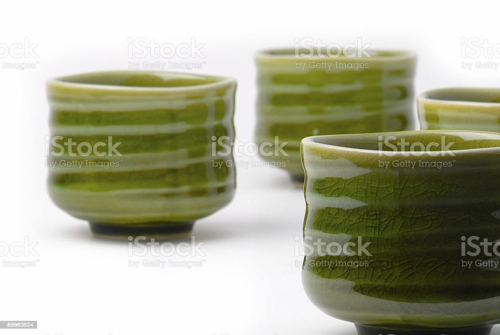 four chinese tea cups stock photo