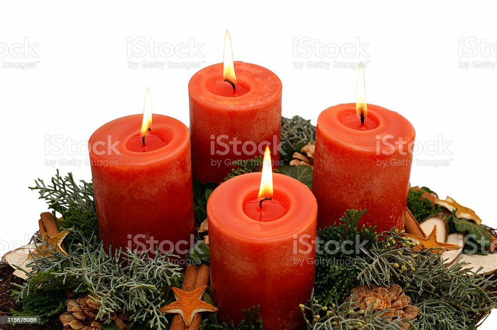 Four christmas candles royalty-free stock photo