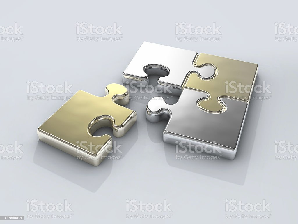 four chrome puzzle connection royalty-free stock photo