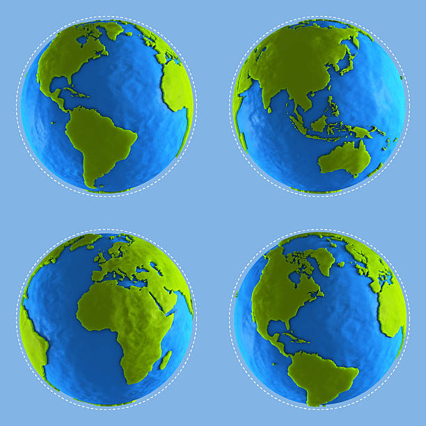 Four clay globe showing different continents stock photo