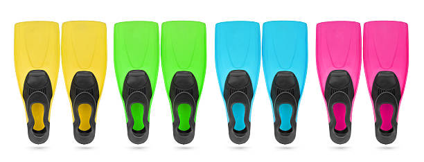 Four color flippers for diving, isolated path included Four color flippers for diving, isolated path included diving flipper stock pictures, royalty-free photos & images