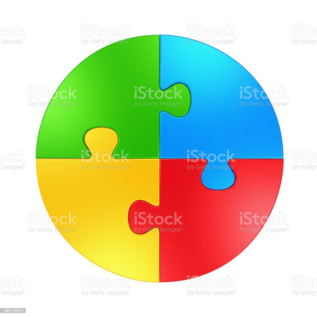 Four Color Puzzle Circle Isolated stock photo