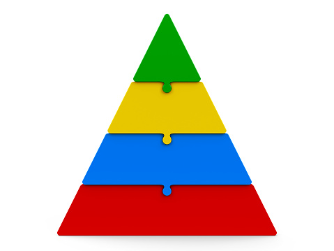 Four color puzzle pieces compose pyramid - represents four steps, isolated on a white background, three-dimensional rendering, 3D illustration
