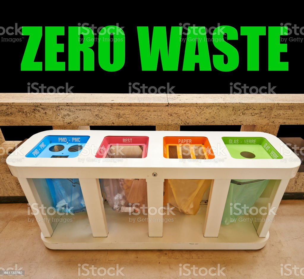 Four color trash cans, zero waste concept stock photo