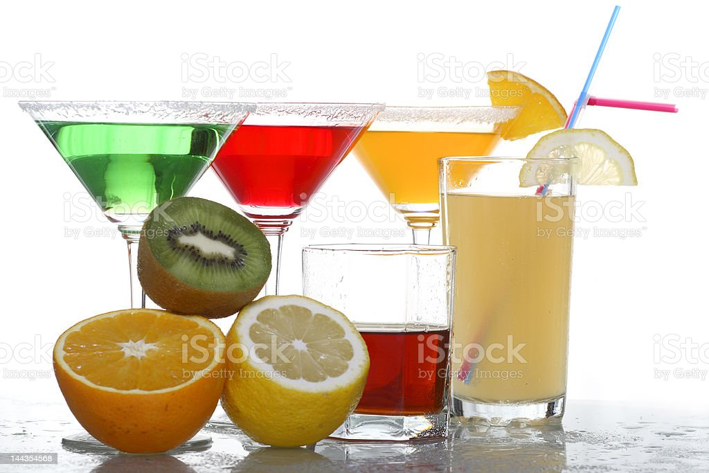 four colored cocktails, whisky and fruit 3 royalty-free stock photo
