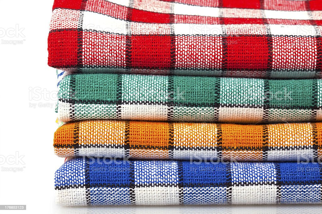 Four colored dishcloths isolated royalty-free stock photo