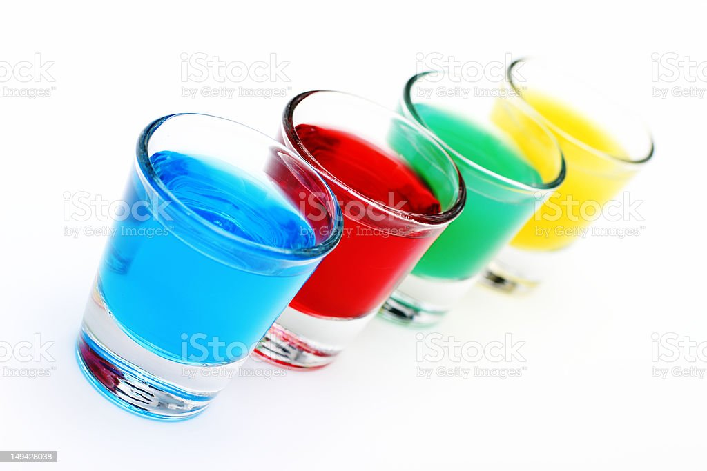 Four colored glasses royalty-free stock photo