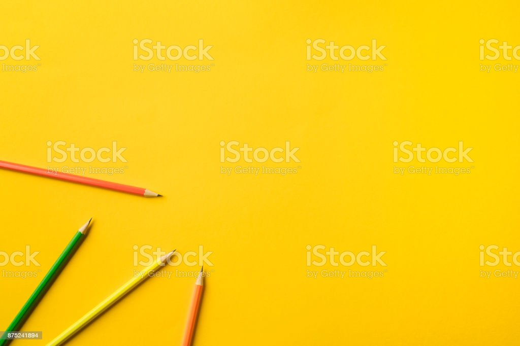 Four colored pencils stock photo