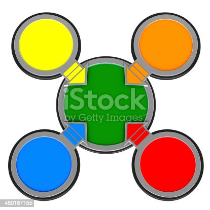 157434064istockphoto four colored pointer on white background 480167155