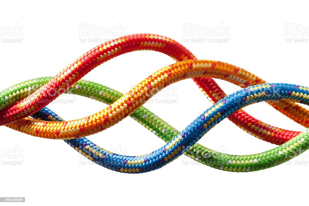Four colored ropes. Concept image. stock photo