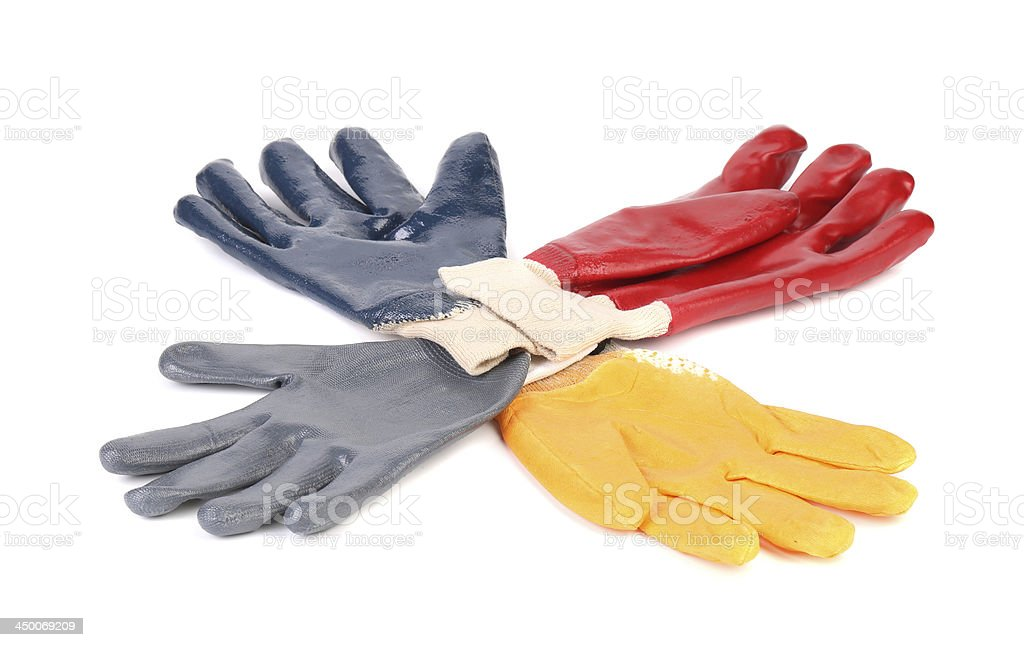 Four colores of rubber gloves. royalty-free stock photo