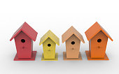 Four colorful birdhouses, top view, 3d render. Bird boxes isolated on a white background.