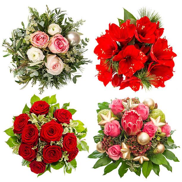 vier bunte blumen bouquet. rosen, belladonnalilien, protea isoliert - protea strauß stock-fotos und bilder