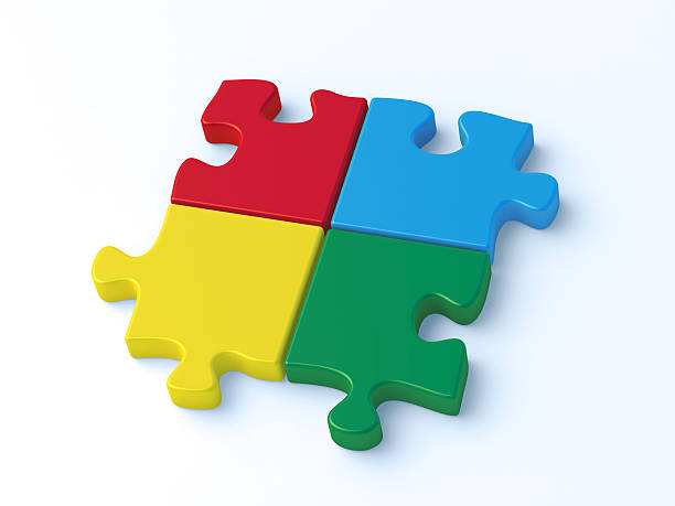 Four Colorful Puzzle Pieces Wrong Direction 3D Render of four colorful puzzle pieces. Very high resolution available! blue 3d business NOT map NOT background stock pictures, royalty-free photos & images