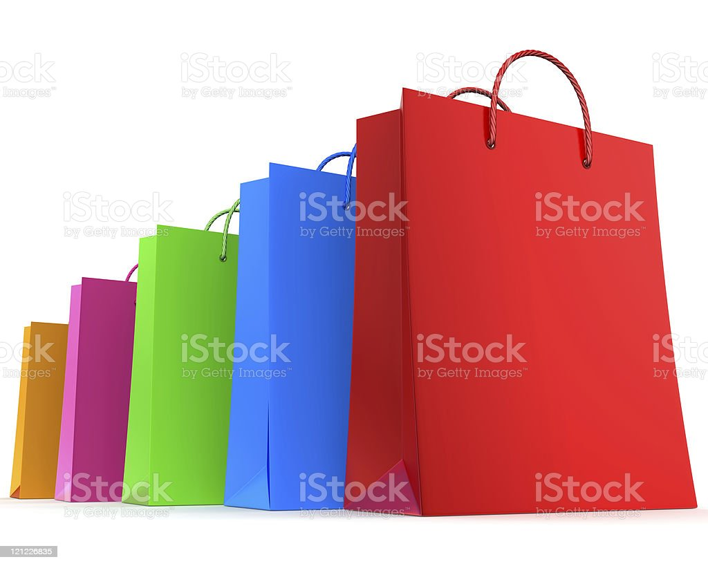 Four colorful shopping bags royalty-free stock photo