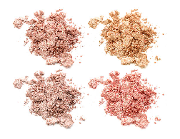 four colors of eye shadow isolated on white background - goldenes augen make up stock-fotos und bilder